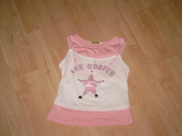 D205 Sportief wit/rose t-shirt Lee Cooper mt 9jr