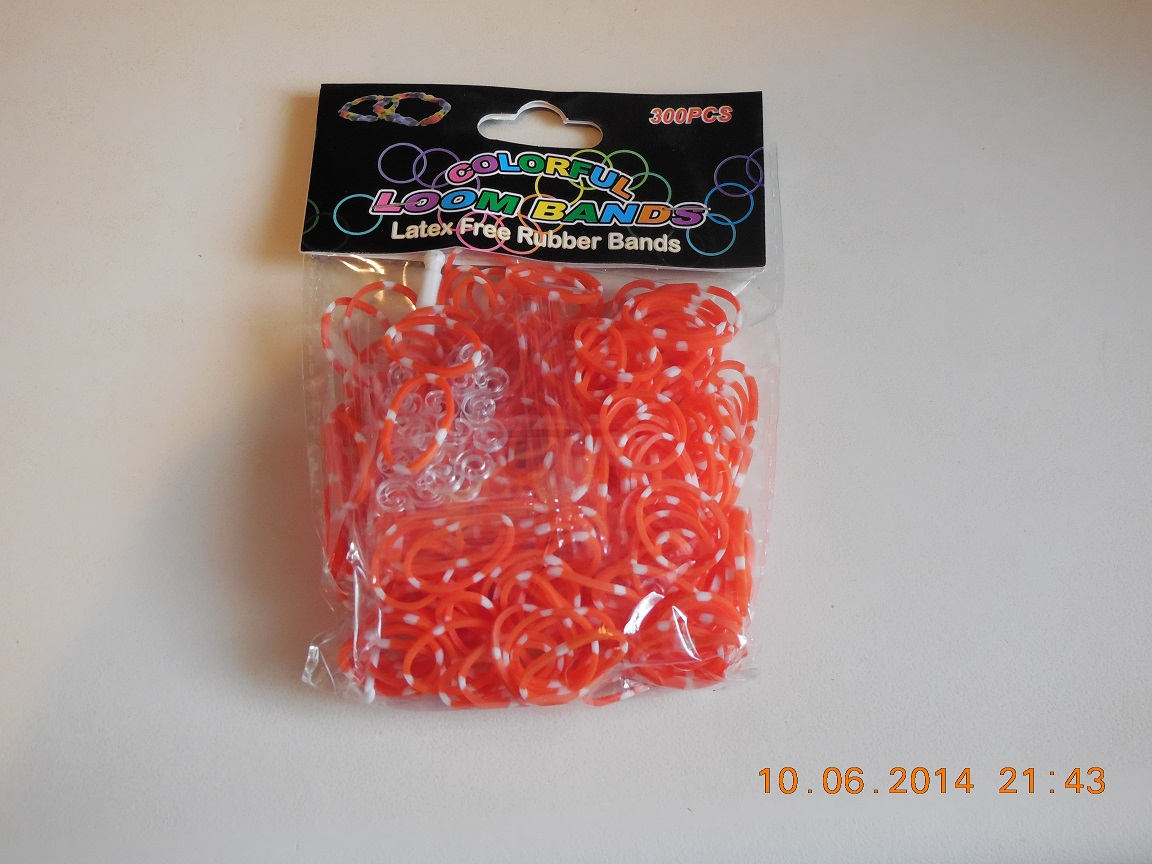 LB18 Loombands duo oranje/wit 300st